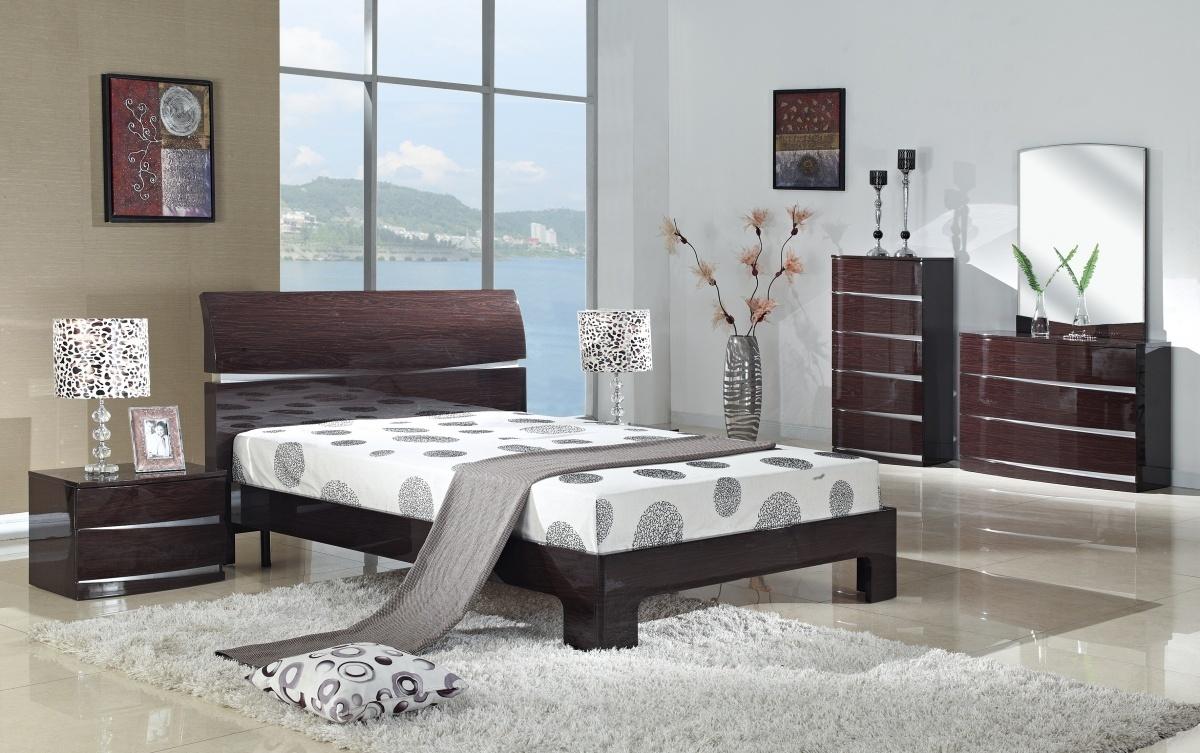 cherry high gloss bedroom furniture set homegenies