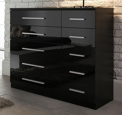 black high gloss chest of drawers homegenies