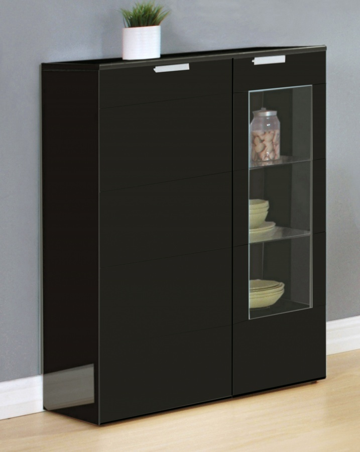 Black high gloss dining room cabinet homegenies for Lounge cabinets