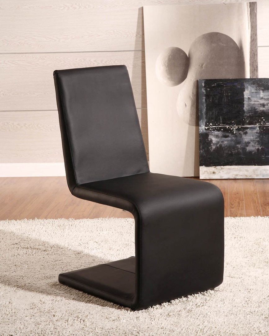 Dining Chair in Black or White Faux Leather Homegenies