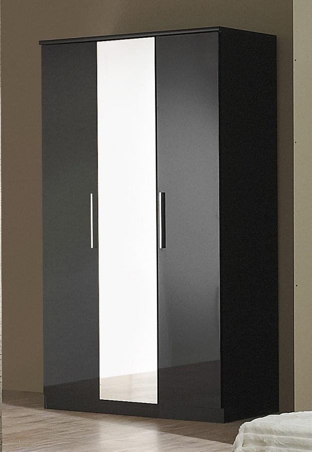 Black High Gloss 3 Door Wardrobe Homegenies