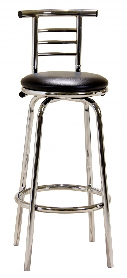 Black Faux Leather And Chrome Pair Bar Stool Homegenies