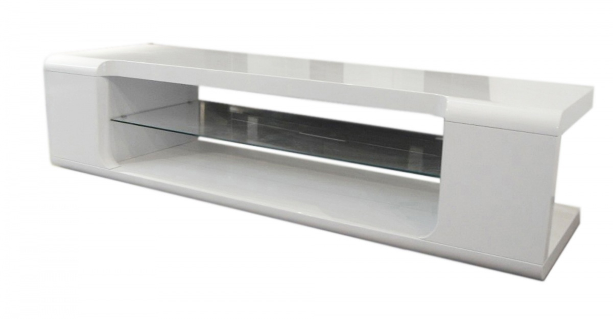 White High Gloss Tv Unit With Glass Shelf Homegenies