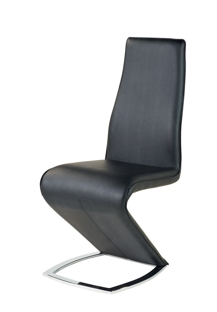 Black dining room z chairs in faux leather homegenies for Black leather dining room chairs