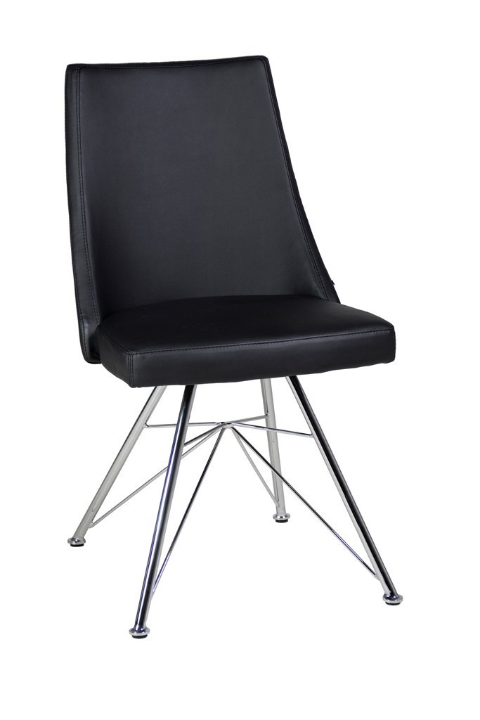 Faux leather dining chairs in black or white homegenies for Black leather dining chairs