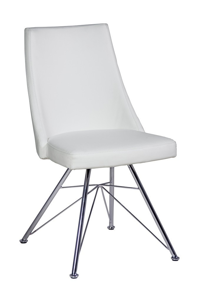 Faux leather dining chairs in black or white homegenies for White leather dining chairs