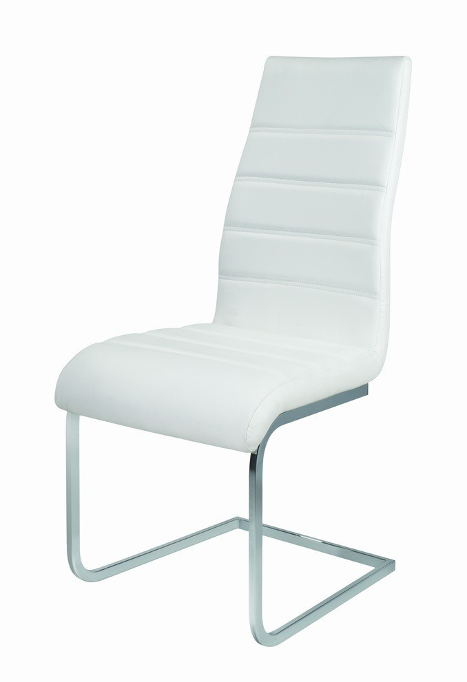 White high backed faux leather dining chairs homegenies for White leather high back dining chairs