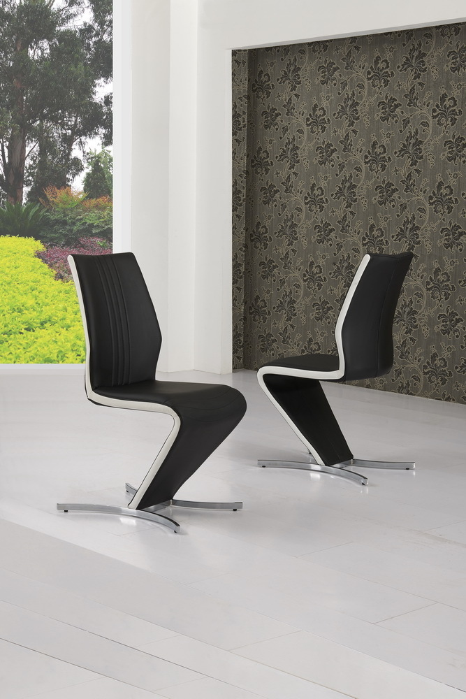 Z Dining Chairs in Black Faux leather White Stripe ... & Z Dining Chairs in Black Faux leather White Stripe - Homegenies