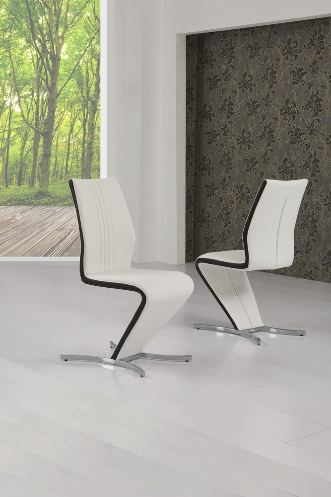 Z Dining Chairs In White Faux Leather Black Stripe
