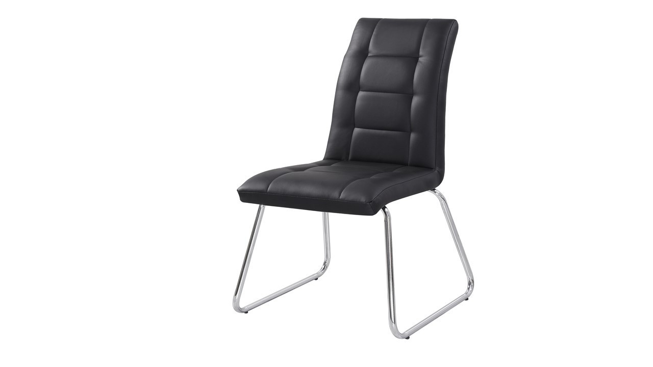 Black dining chairs in faux leather homegenies for Black leather dining chairs