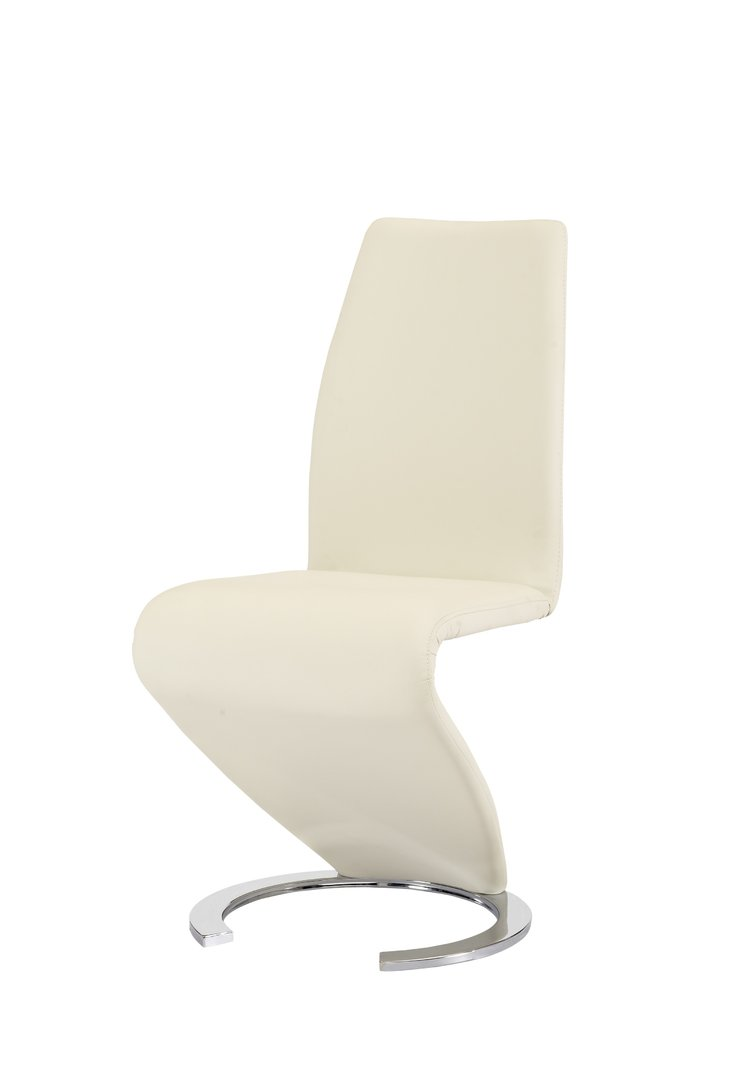 New design cream z dining chairs faux leather homegenies for Chair new design
