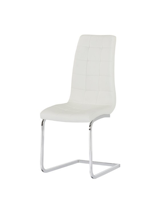 white faux leather dining chairs pair homegenies. Black Bedroom Furniture Sets. Home Design Ideas