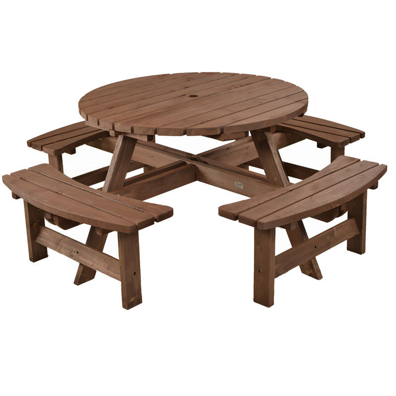 8 Seater Wooden Picnic Bench Table Set Homegenies