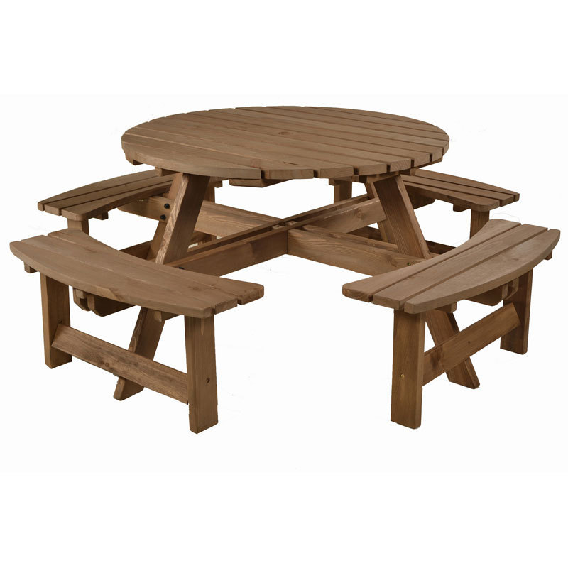 Picnic Table Set : Wooden Picnic Bench Set - 8 Seater - Homegenies