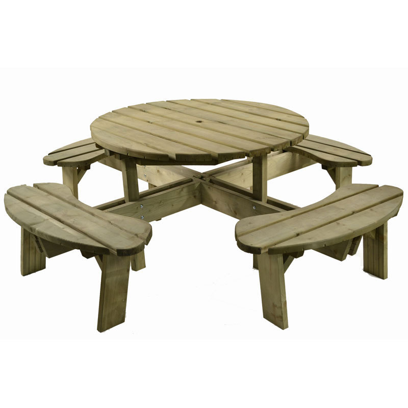 Round Wooden 8 Seater Picnic Bench Table Set Homegenies