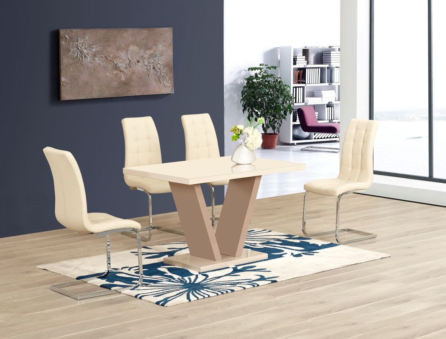 Cream High Gloss Glass Dining Table And 6 Chairs Homegenies