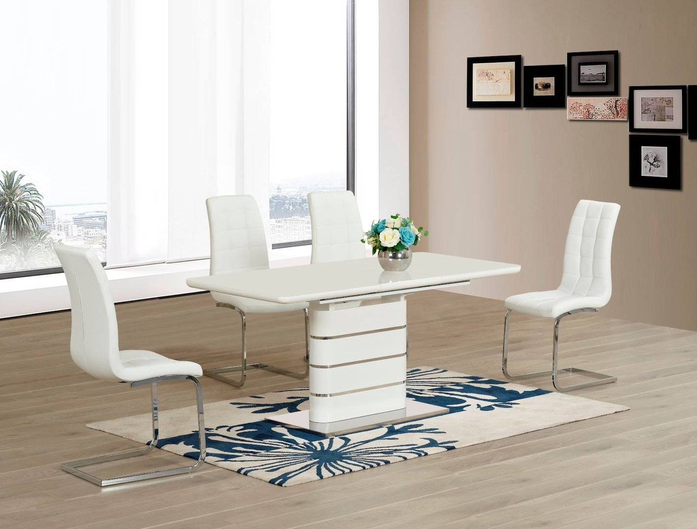 white glass with high gloss dining table and 6 chairs homegenies. Black Bedroom Furniture Sets. Home Design Ideas