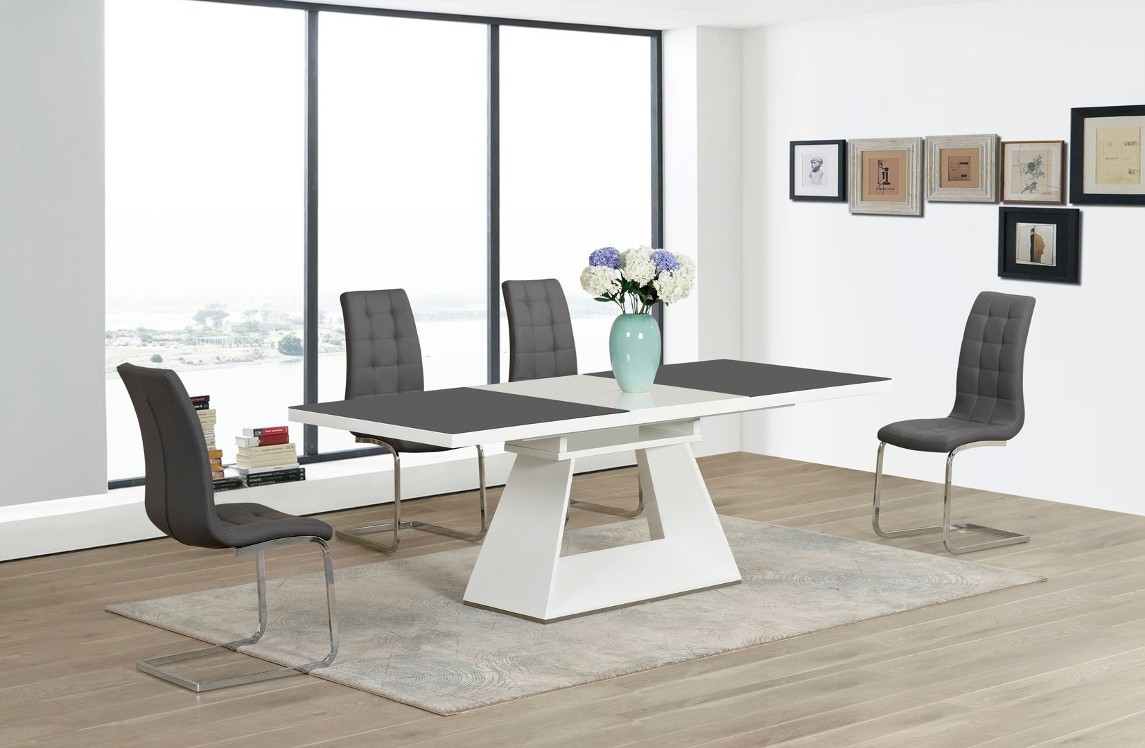 Grey White Extending High Gloss Glass Dining Table And 6