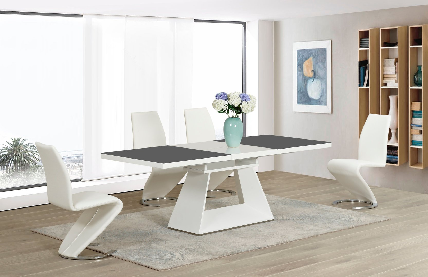 White high gloss grey glass ex dining table and 8 white z for White high gloss dining table