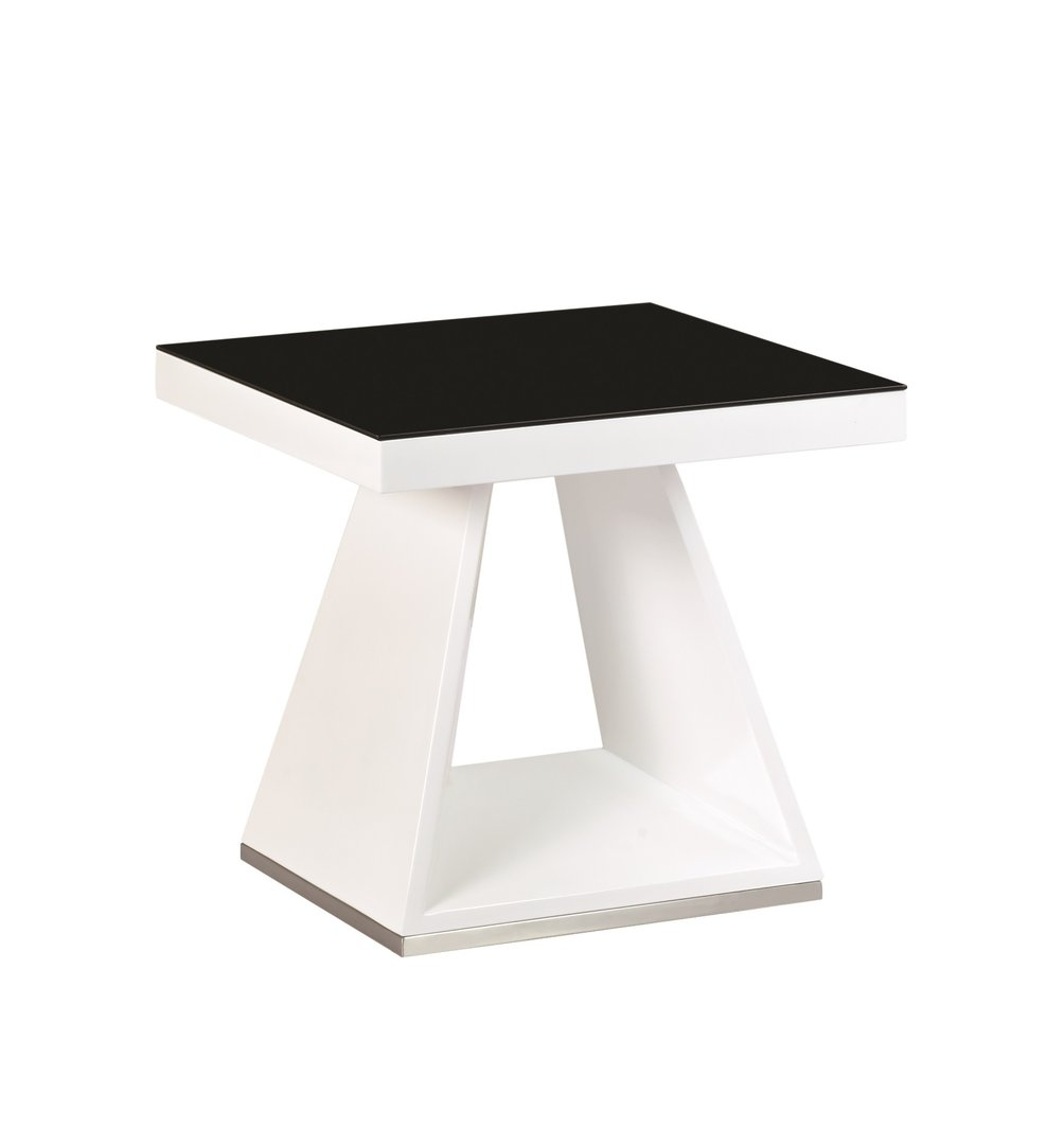 Tim Clear Glass Coffee Table With High Gloss White Base: White High Gloss Black Glass Lamp Side Table