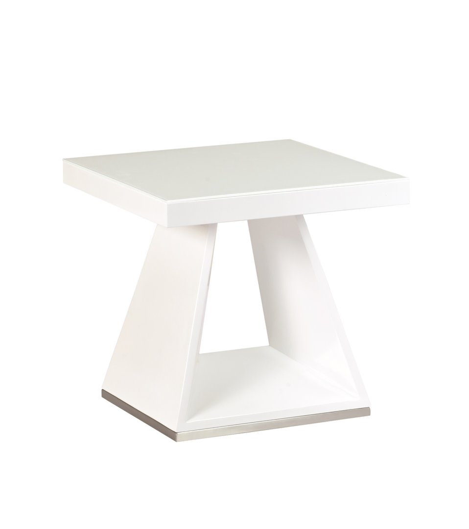 White High Gloss White Glass Lamp Side Table