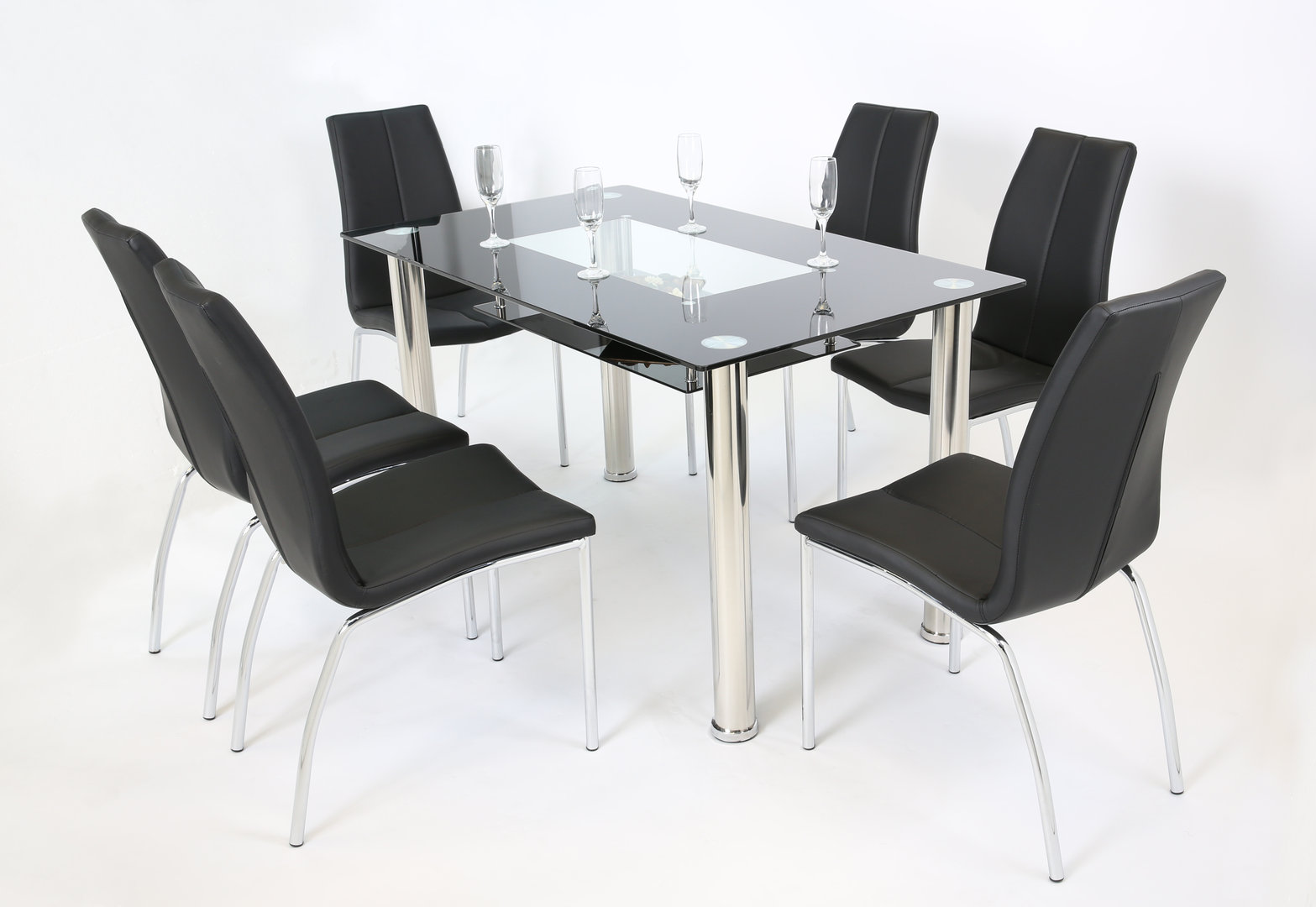 Black and clear glass dining table and 6 chairs homegenies for Glass dining table and chairs