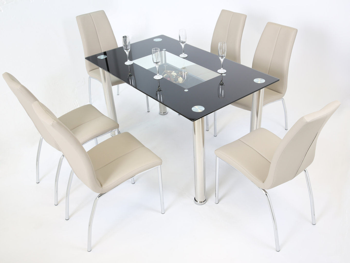 Black Glass Dining Table And 6 Mink Grey Chairs Homegenies
