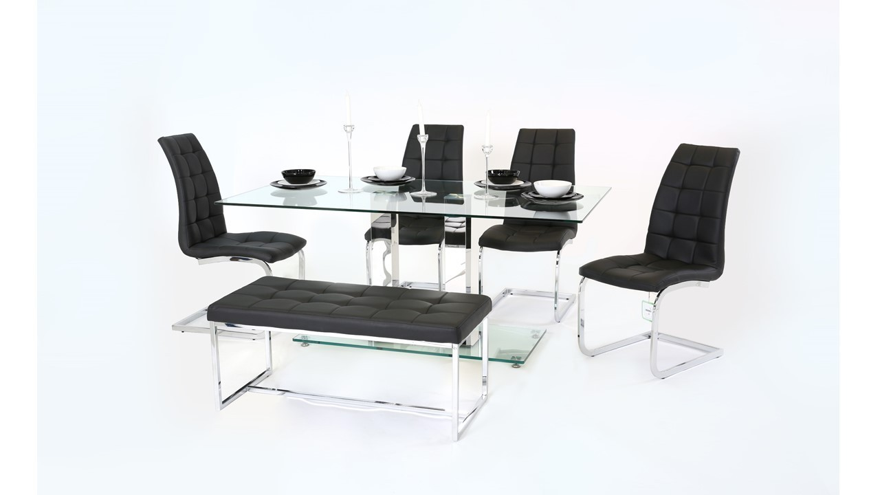 Clear Glass Dining Table With Chair And Bench Set Homegenies