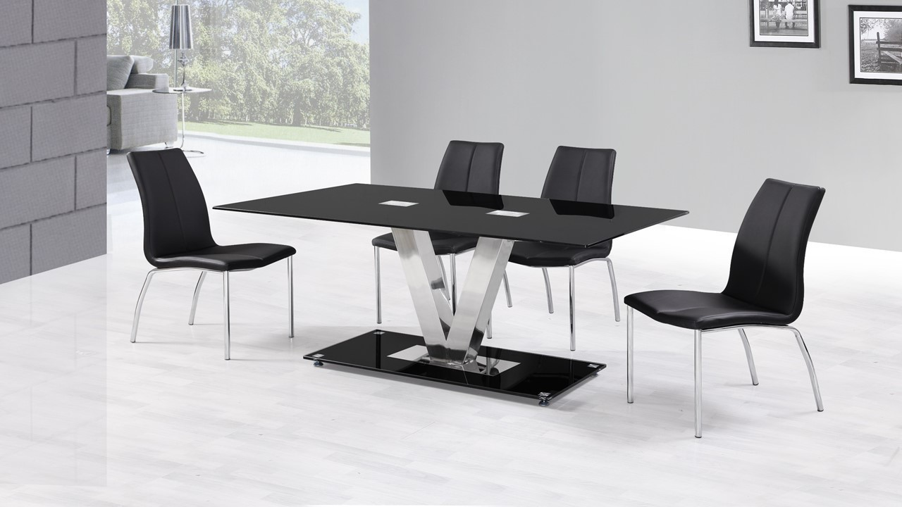 Black glass dining table and 6 black dining chairs homgenies for Black glass dining table