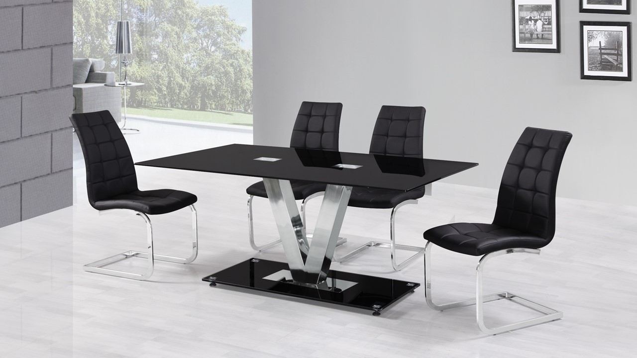 6 seater black glass dining table and chairs homegenies for 6 seater dining room table and chairs