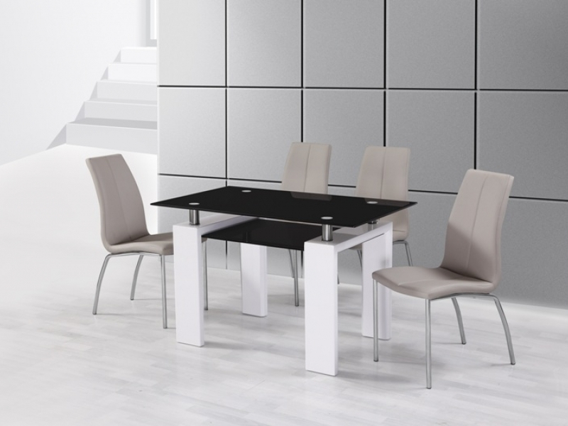 a81dbc7a5cc10 White High Gloss Black Glass Dining Table and 4 Mink Grey Chairs Set ...