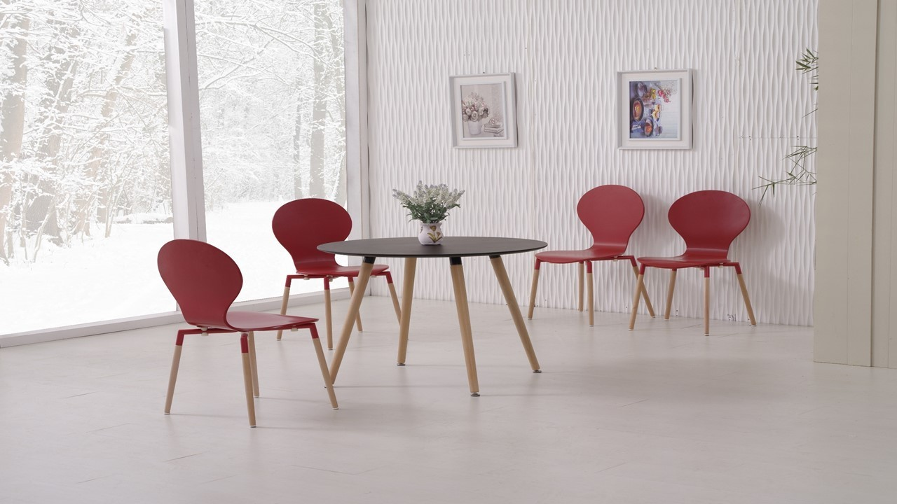 Round black wooden dining table and 4 red chairs homegenies for Wood round dining table for 4
