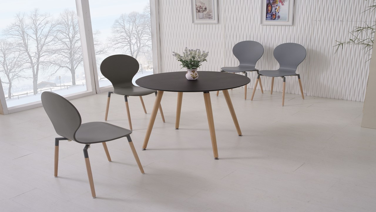 Round Black Wooden Dining Table And 4 Grey Chairs Homegenies