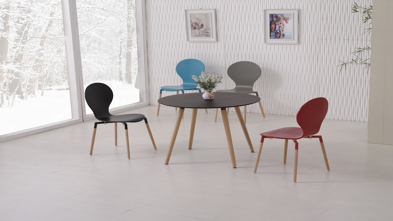 Round Black Pu Dining Table And 4 Mix Colour Chairs
