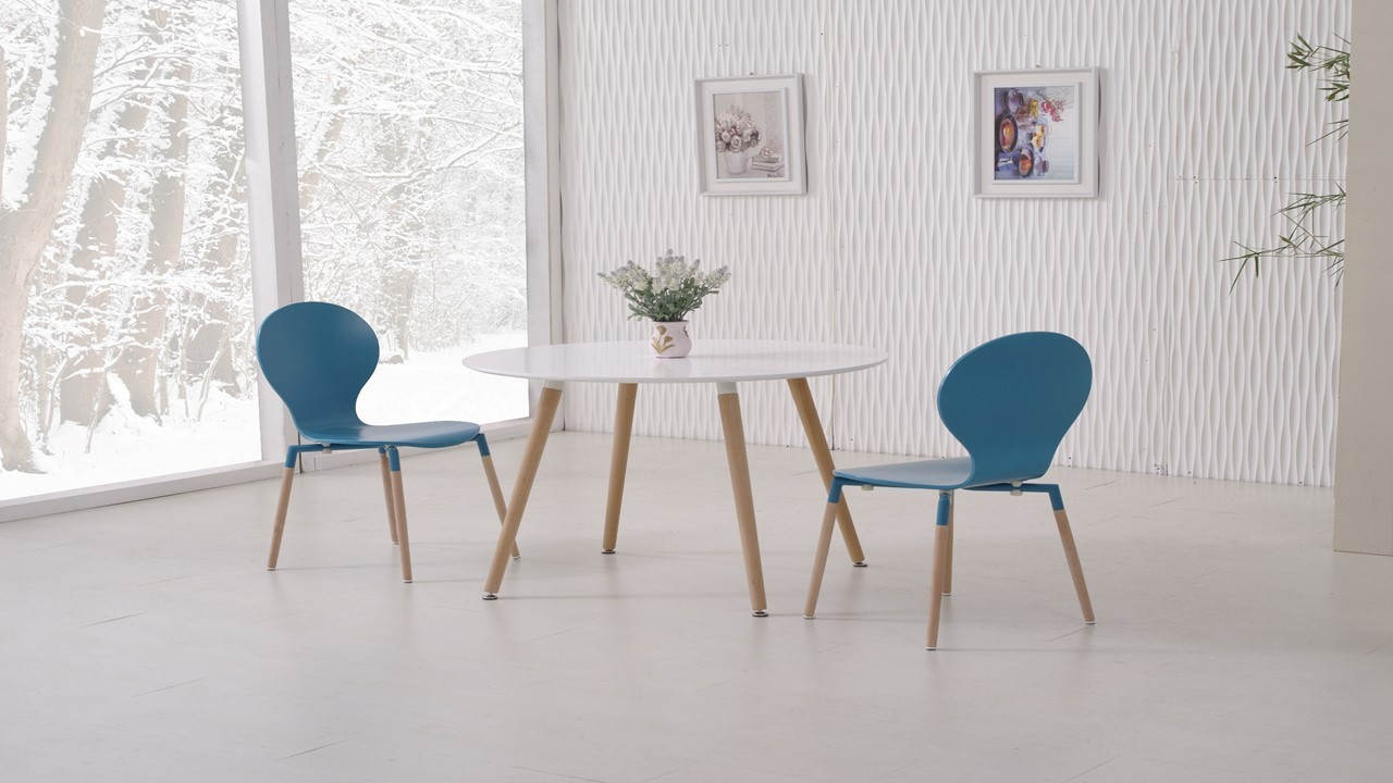 Round White Wooden Dining Table And 4 Blue Chairs Homegenies