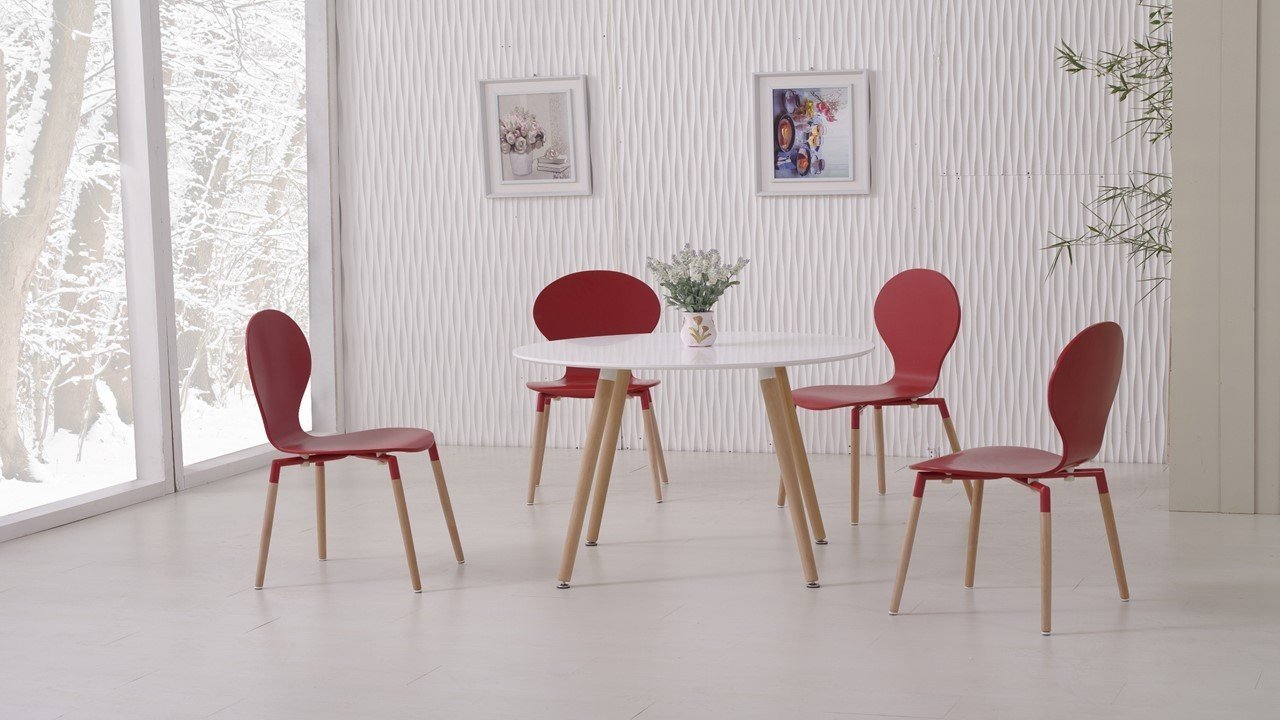 White Dining Table and 4 Red Chairs Homegenies