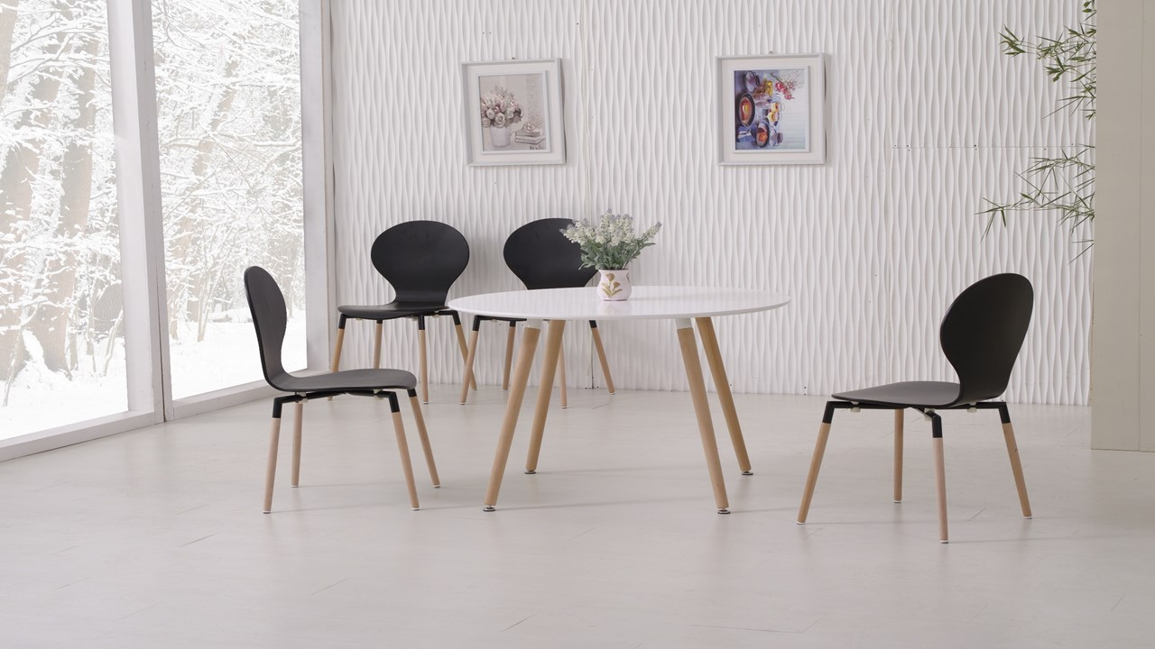 white dining table and 4 black chairs homegenies. Black Bedroom Furniture Sets. Home Design Ideas