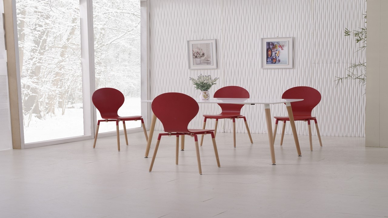 White dining table and 6 red chairs homegenies for Red dining table