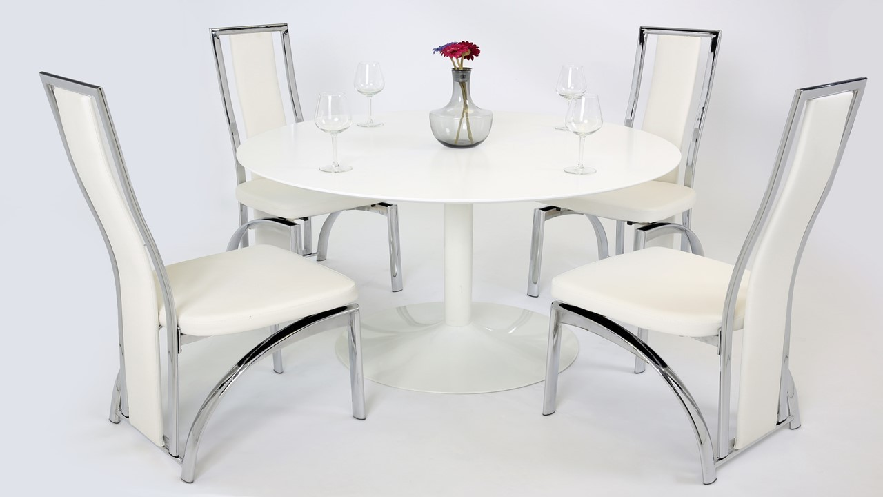 White gloss dining table and 4 chairs homegenies for White dining table and 4 chairs
