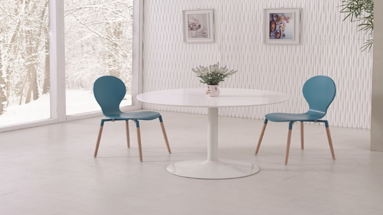 White Gloss Dining Table And 4 Blue Pu Chairs Homegenies