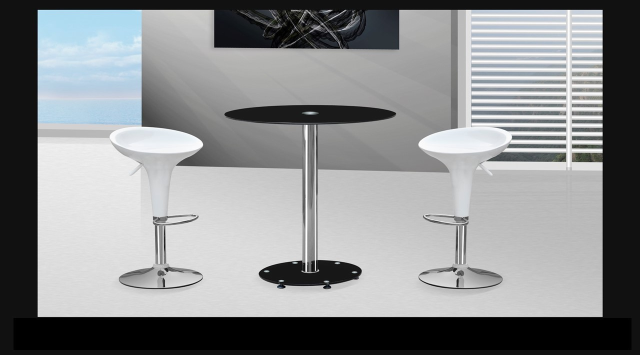 Black Glass Bar Table And Stools Homegenies