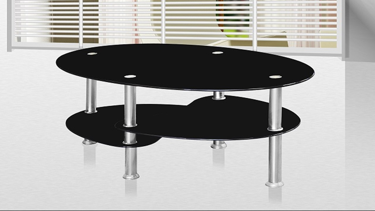 Black Glass Coffee Table Homegenies