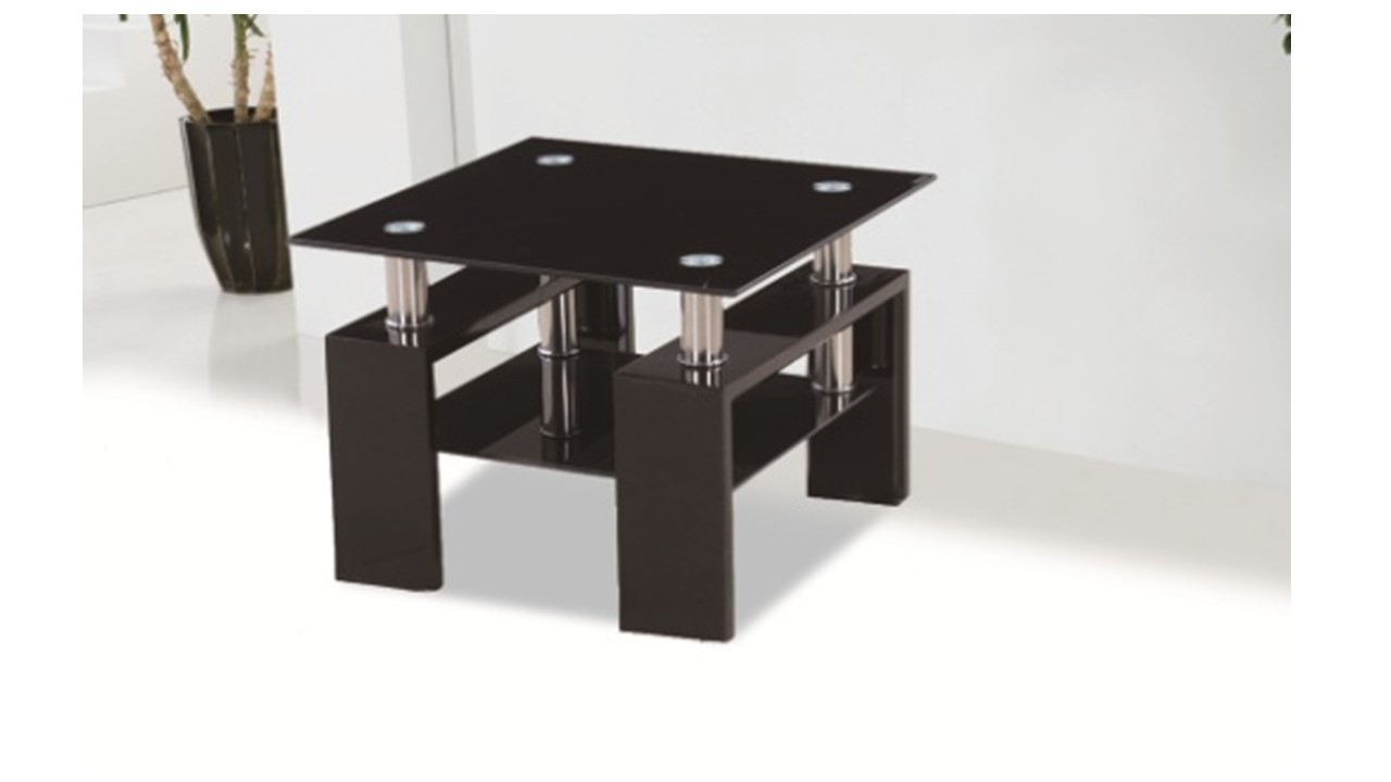 Black glass high gloss side lamp table homegenies for Side and lamp tables