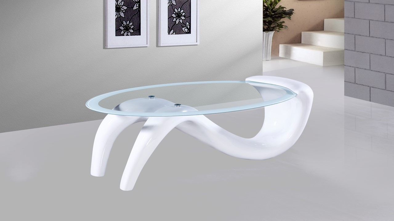 White High Gloss Glass Coffee Table Homegenies