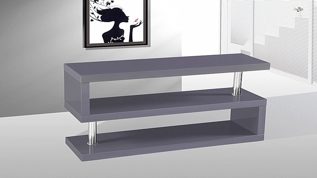 tv stand unit in grey high gloss homegenies. Black Bedroom Furniture Sets. Home Design Ideas