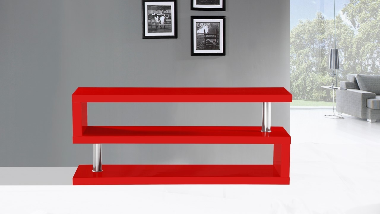 tv stand unit in red high gloss homegenies