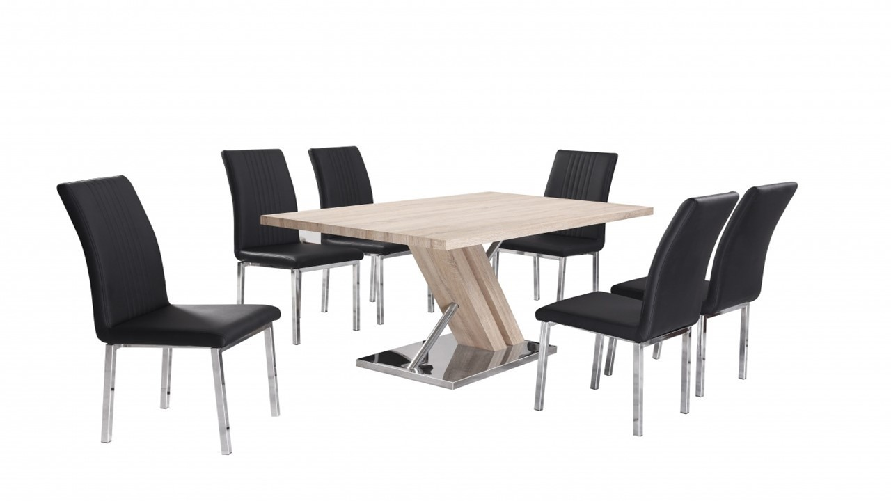 Wooden dining table and 6 chairs homegenies for Table and 6 chairs uk