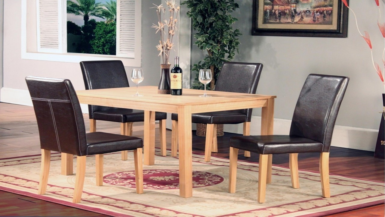 Ash Wood Dining Table And 4 Chairs Homegenies