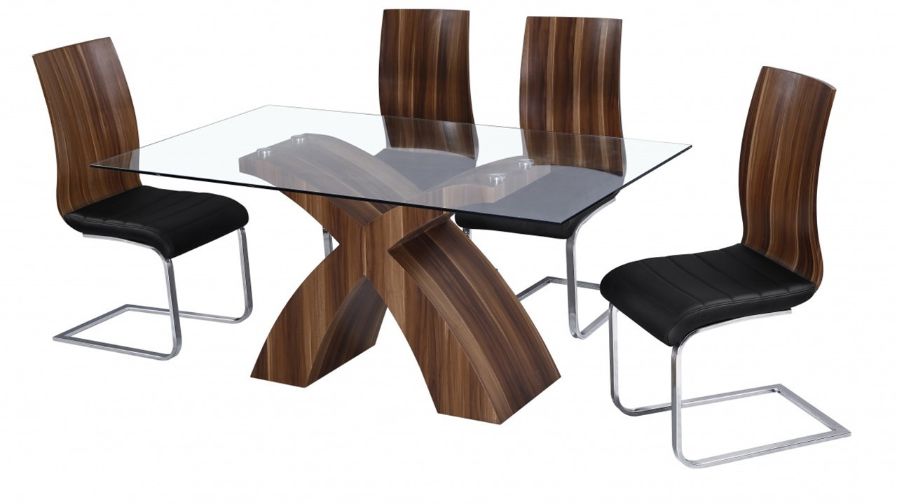Glass dining table and 6 walnut chairs homegenies for Glass dining table and chairs