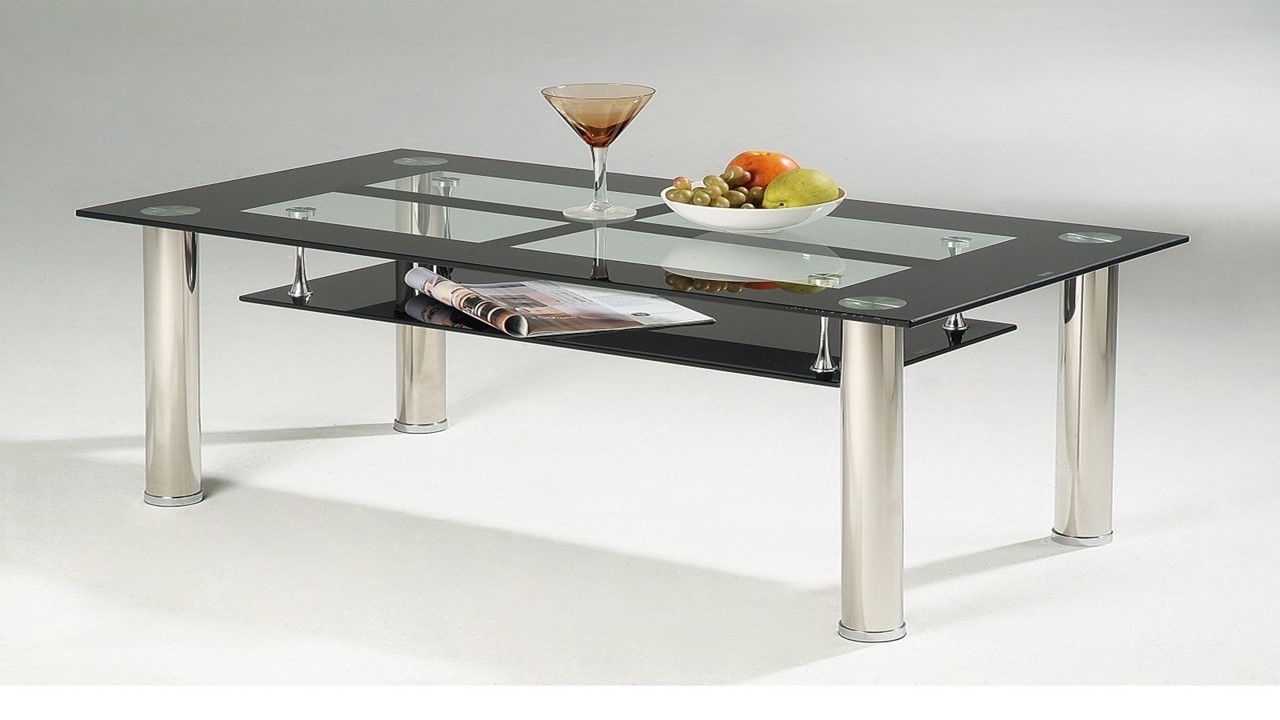 Black glass coffee table with chrome legs homegenies Black coffee table with glass